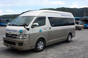 松山観光の大型で広い車内、快適シートでゆったり